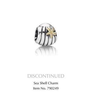Pandora Charm Sea Shell Sterling Silver and Gold